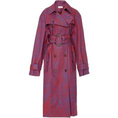 Diane von Furstenberg Long Sleeve Belted Trench Coat ($1,200) ❤ liked on Polyvore featuring outerwear, coats, print, red coat, pattern coat, belted trench coat, print trench coat and double breasted coat