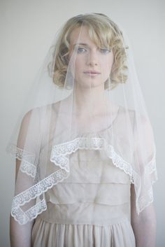 Silk tulle with lace trim veil in ivory - Style # 053 (tulle veils, twigs & honey, veils, view all) | Veils | Twigs & Honey ®, LLC