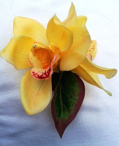 TROPICAL HAIR ACCESSORY  Yellow Orchids Silk Flowers by MalamaPua, $21.99