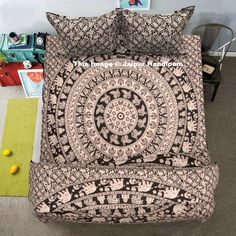 Black and white elephant mandala duvet cover set with sheet and pillows