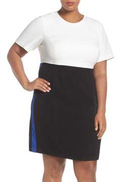 Eliza J Colorblock A-Line Dress (Plus Size)
