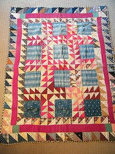 Antique Baby Childs Crib Quilt Late 1880's 41x33 Hand Stitched Indigo Blue Fabri