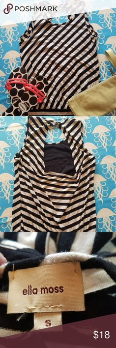 Ella Moss Tank Soft jersey material in this striped tank with button close at the back and exposed back. Size small Anthropologie Tops