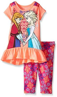 Disney Girls Frozen 2Piece Legging Set Coral 6 >>> Read more reviews of the product by visiting the link on the image.