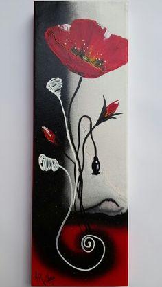 """Artiste : RAFFIN CHRISTINE   """"En rouge et noir"""" Peinture acrylique sur toile châssis 3D  20x60"""