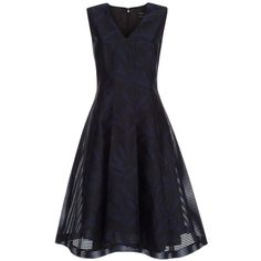 Paul Smith Women's Black Sheer-Stripe Dress With Navy Floral Print ($580) ❤ liked on Polyvore featuring dresses, cocktail dresses, black and navy, black v neck dress, black dress, floral dress, black full skirt and see through dress
