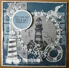 Noor!  Design  Seashore Masculine Birthday Cards, Masculine Cards, Fancy Fold Cards, Folded Cards, Album Scrapbook, Nautical Cards, Fabric Cards, Beach Cards, Sea Theme