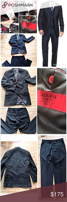 🌿ALFANI SLIM SUIT🌿 🌿MEN'S BLACK ALFANI SLIM SUIT 🌿 JACKET - 38 REG. 100% Wool Shell.  DRY Clean 🌿 PANTS - 32 W x 32 L. 98% Wool 2% spandex. DRY Clean🌿 EXCELLENT CONDITION.... 🌿Model used as reference only. 🌿 Alfani Jackets & Coats