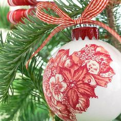 DIY Ornaments - made with napkins. #Christmas #crafts #decorations