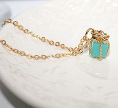 Little Mint Present Gift pendant Gold Necklace by AngelPearls