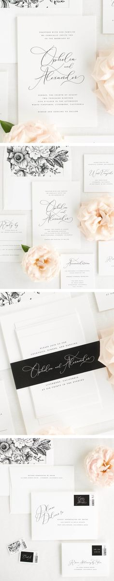 A delicate calligraphy-inspired font adds a touch of drama to these elegant wedding invitations. Shown in black ink with a garden rose envelope liner and belly band in black.