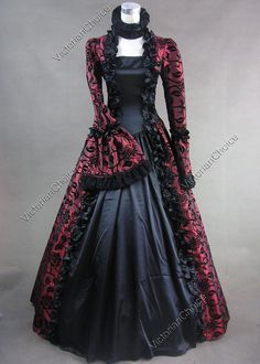 Victorian Satin Ball Gown Period Dress Reenactment Theatre Clothing PUNK 119 M #VictorianChoice #Dress