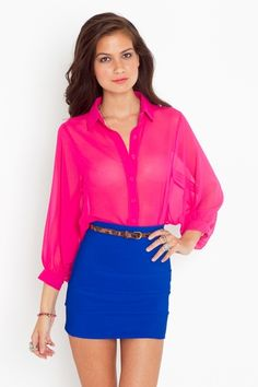 1. Love this outfit. 2. Love this sheer magenta blouse.