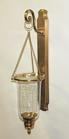 n041 antique brass hanging wall sconce with lined glass candle holder