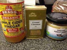 Bragg apple cider vinegar, raw organic honey and pinch cinnamon. My daily dose of good health.