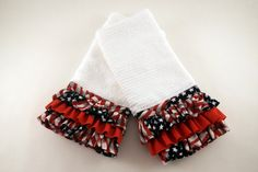 Ruffled Kitchen Towels-Great Gift Idea-Sold in Pairs-4th of July!  GREAT Gift Idea!  Pairs up beatifully with 4th of July Apron!  BY:  covermethis.biz