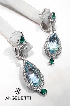 Nella boutique Angeletti, i meravigliosi orecchini con diamanti e acquamarina firmati Crivelli!