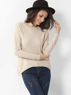 Asymmetrical Hems Round Neck Knit Plain Sweaters