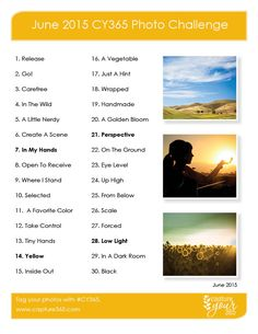 June 2015 CY365 Photo Challenge List -- Love the inspiration and photo tips from this website!