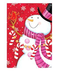 Pink Scarf Snowman Garden Flag