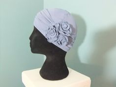 Stone grey hat with removable flower headband lined chemo cap chemo headwear chemo hat