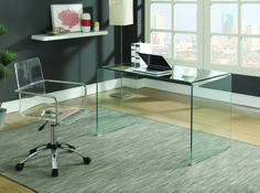 Solid Glass Desk 801581 Clear Tempered Glass Round Modern