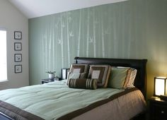 BEAUTIFUL Bamboo Wall Mural - painted in 3 different sheens of the same green.