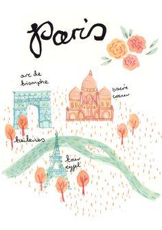 #Paris- Art Print by emmablock on Etsy