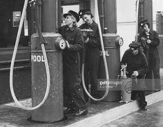 Women manning London petrol pumps during WW II.