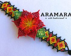 Mexicana Huichol abalorios Peyote pulsera PF-0028 por Aramara
