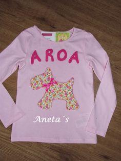 Camisetas decoradas con un bonito perrito de tela y con tira bordada. A las niñas les encanta!!!          REF. 013         REF. 014    ...