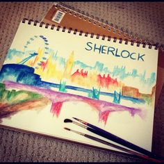 Sherlock skyline in what I think is water colour... This is really cool!
