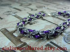 Byzantine Silver and Violet Bracelet by aislinnscollared on Etsy
