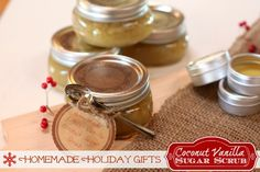 Homemade Coconut Citrus-Vanilla Sugar Scrub. A simple and inexpensive Homemade Holiday Gift Idea!!