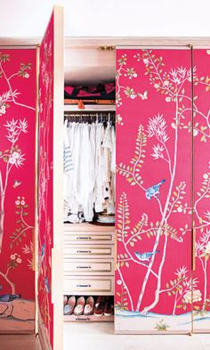 Use a large-patterned wallpaper, like this chinoiserie-inspired style, to makeover your closet door. For a major statement, cover the surrounding wall, too.
