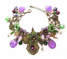 Woodland Fairy Renaisance Flower Charm Bracelet. $45.00, via Etsy.