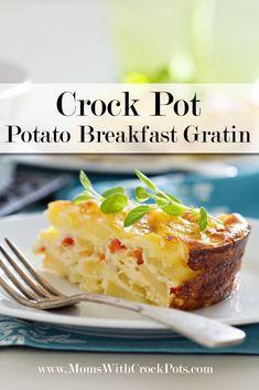 Perfect for brunch! CrockPot Potato Breakfast Gratin #recipe