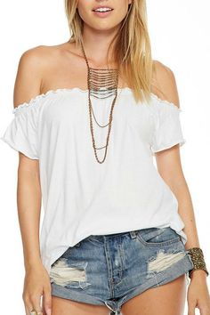 DESCRIPTION  Chaser is bringing basics back. This pretty off the shoulder cotton jerey tee is by Chaser is exactly what youve been looking for. Perfect fit and super soft 100% cotton fabric!  This will be the top you wear all summer! Pair it with your favorite jeans shorts or skirt! Dress it up or wear it with cut off jean shorts. We love this top with everything!    Brand: Chaser  Made in: United States    Fiber Content: 100% cotton (View Fabric Guide)    SIZE & FIT  Fit is true to size…