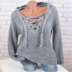 Damen V-Ausschnitt Bluse Pullover Pulli Sweater Sweatshirt Strickjacke S-2XL FL