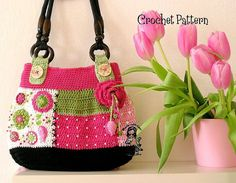 Crochet pdf pattern ladies bag Garden scene par VendulkaM sur Etsy, $6.50