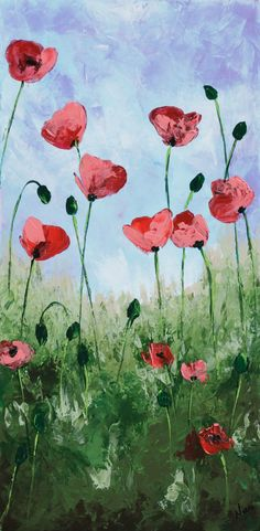 Poppy painting, Abstract Flower, Palette knife Floral art, California Red…