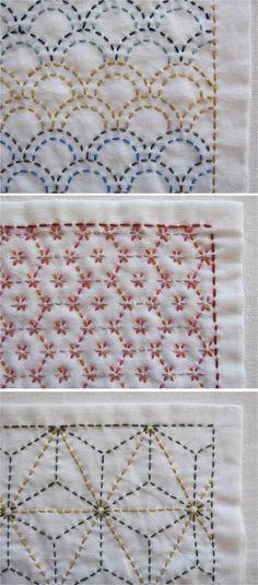 【オーダー品:baby-marin様専用】刺し子の布巾3枚(青海波/花亀甲/麻の葉)