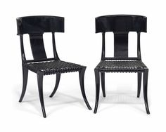 t.h. robsjohn-gibbings / klismos chair, ebonized birch and leather