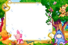 Kids Transparent Frame with Winnie the Pooh Boarder Designs, Frame Border Design, Page Borders Design, Photo Frame Design, Winnie The Pooh Pictures, Cute Winnie The Pooh, Winnie The Pooh Birthday, Winnie The Pooh Background, Kids Background
