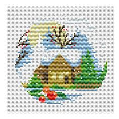 Winter Composition xstitch Pattern// Winter House Embroidery