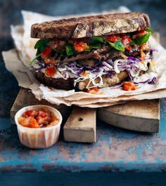 Gourmet style sandwich with salsa