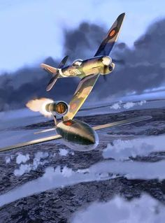 Tempest pilot tipping a V-1 buzz bomb off course with his wingtip