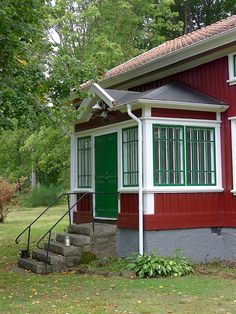 Sweden House, Red Houses, Red Cottage, Porch, Sweet Home, Shed, Exterior, Outdoor Structures, Architecture
