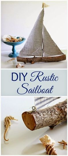 Quick and easy DIY rustic sailboat made from a tree branch.