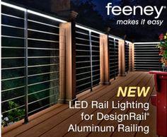Lighted deck hand railing, LED, Feeney